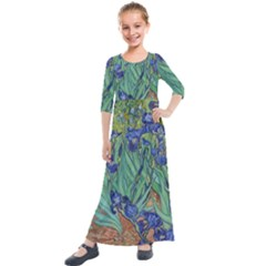 Antique Art Artwork Bloom Blooming Kids  Quarter Sleeve Maxi Dress by Wegoenart
