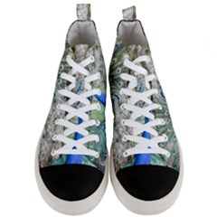Peacock Bird Colorful Plumage Men s Mid Top Canvas Sneakers