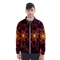 Floral Fractal Glow Flower Design Windbreaker (men)