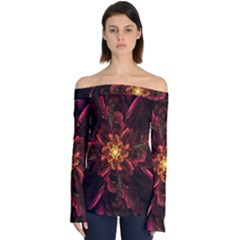 Floral Fractal Glow Flower Design Off Shoulder Long Sleeve Top