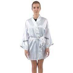 Black And White Organic Abstract Print Long Sleeve Kimono Robe