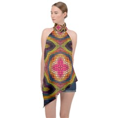 Kaleidoscope Art Pattern Ornament Halter Asymmetric Satin Top