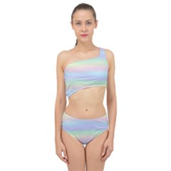 Holographic Foil Pastels Wallpaper Spliced Up Two Piece Swimsuit