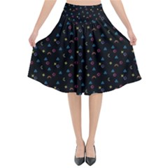 Background Abstract Texture Flared Midi Skirt
