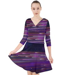 Abstract Cosmos Space Particle Quarter Sleeve Front Wrap Dress