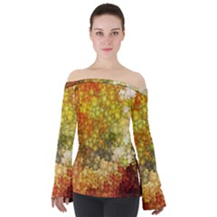 Autumn Kaleidoscope Art Pattern Off Shoulder Long Sleeve Top by Wegoenart