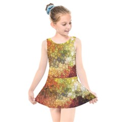 Autumn Kaleidoscope Art Pattern Kids  Skater Dress Swimsuit by Wegoenart