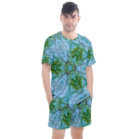 Forest Kaleidoscope Pattern Men s Mesh Tee And Shorts Set by Wegoenart