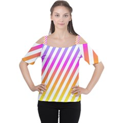 Abstract Lines Mockup Oblique Cutout Shoulder Tee