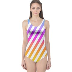 Abstract Lines Mockup Oblique One Piece Swimsuit