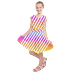 Abstract Lines Mockup Oblique Kids  Short Sleeve Dress