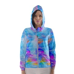 Background Drips Fluid Colorful Hooded Windbreaker (women)