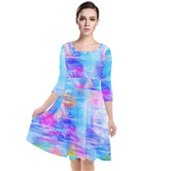 Background Drips Fluid Colorful Quarter Sleeve Waist Band Dress