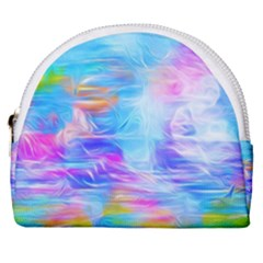 Background Drips Fluid Colorful Horseshoe Style Canvas Pouch by Wegoenart