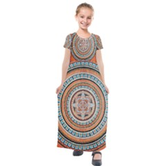 Mandala Art Painting Acrylic Kids  Short Sleeve Maxi Dress by Wegoenart