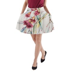 Plant Nature Flowers Foliage A Line Pocket Skirt