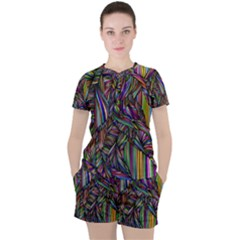 Abstract Background Women s Tee And Shorts Set by Wegoenart