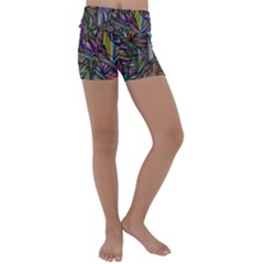 Abstract Background Kids  Lightweight Velour Yoga Shorts