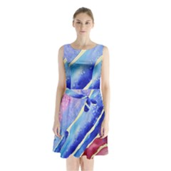 Painting Abstract Blue Pink Spots Sleeveless Waist Tie Chiffon Dress