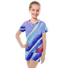 Painting Abstract Blue Pink Spots Kids  Mesh Tee And Shorts Set
