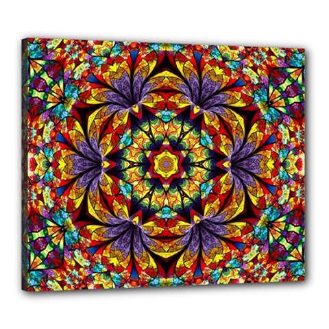 Flowers Kaleidoscope Art Pattern Canvas 24  X 20  (stretched)