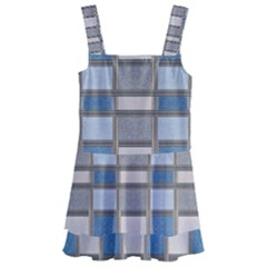 Abstract Seamless Fabric Blue Kids  Layered Skirt Swimsuit