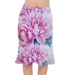 Art Painting Flowers Peonies Pink Mermaid Skirt