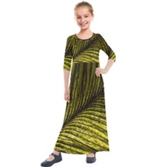 Feather Macro Bird Plumage Nature Kids  Quarter Sleeve Maxi Dress by Wegoenart