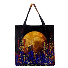 Skyline Frankfurt Abstract Moon Grocery Tote Bag