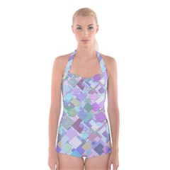 Colorful Background Multicolored Boyleg Halter Swimsuit