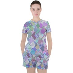 Colorful Background Multicolored Women s Tee And Shorts Set by Bejoart