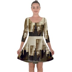 Architecture City House Quarter Sleeve Skater Dress