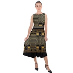 Board Digitization Circuits Midi Tie-back Chiffon Dress