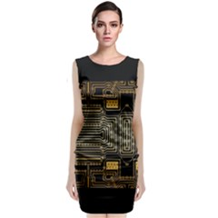 Board Digitization Circuits Sleeveless Velvet Midi Dress