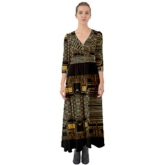 Board Digitization Circuits Button Up Boho Maxi Dress