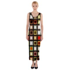 Squares Colorful Texture Modern Art Fitted Maxi Dress