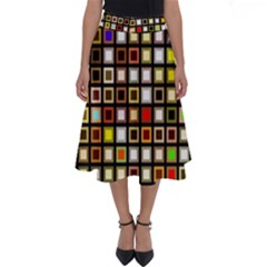 Squares Colorful Texture Modern Art Perfect Length Midi Skirt
