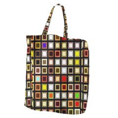 Squares Colorful Texture Modern Art Giant Grocery Tote