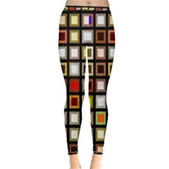 Squares Colorful Texture Modern Art Inside Out Leggings by Bejoart