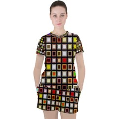Squares Colorful Texture Modern Art Women s Tee And Shorts Set by Bejoart