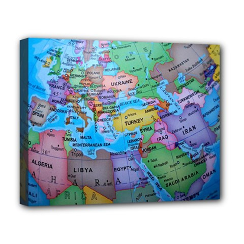 Globe World Map Maps Europe Deluxe Canvas 20  X 16  (stretched)