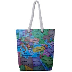 Globe World Map Maps Europe Full Print Rope Handle Tote (small)