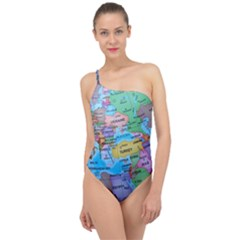 Globe World Map Maps Europe Classic One Shoulder Swimsuit