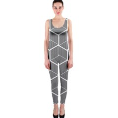 Cube Pattern Cube Seamless Repeat One Piece Catsuit