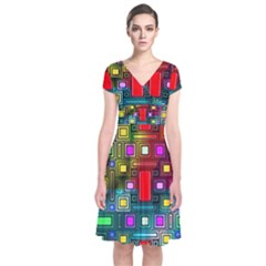 Art Rectangles Abstract Modern Art Short Sleeve Front Wrap Dress