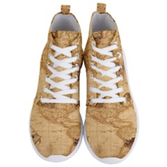 Map Discovery America Ship Train Men s Lightweight High Top Sneakers