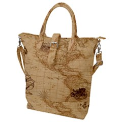 Map Discovery America Ship Train Buckle Top Tote Bag by Bejoart