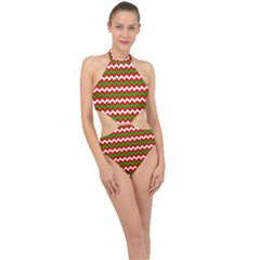 Christmas Paper Scrapbooking Pattern Halter Side Cut Swimsuit
