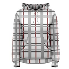 Fabric Plaid Grey Gray Burgundy Women s Pullover Hoodie