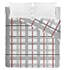 Fabric Plaid Grey Gray Burgundy Duvet Cover Double Side (queen Size)